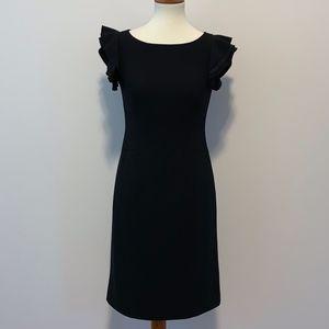 Ann Taylor Black Flutter Sleeve Dress